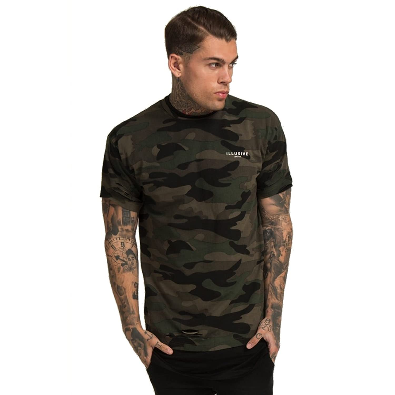 Illusive London Double Layered Ripped T-Shirt Camo