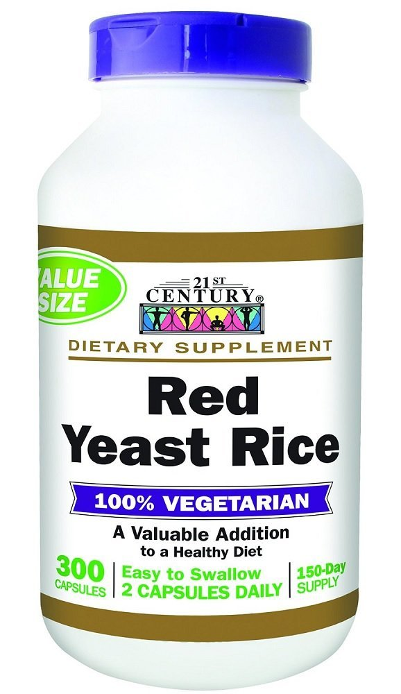 21st Century Red Yeast Rice Extract Vegetarian Capsules 300 Count (4 Pack)