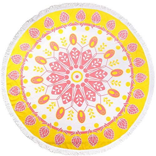 ANswet Superior Manual Beaded Tassel 100% Cotton 59 inches Round Beach Towel Throw Tapestry Gypsy Tablecloth Yoga Mat 900 Grams of cut velvet Super Soft (Yellow ()