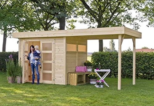 outdoor gartenhaus flachdachhaus vera mit berdachung. Black Bedroom Furniture Sets. Home Design Ideas