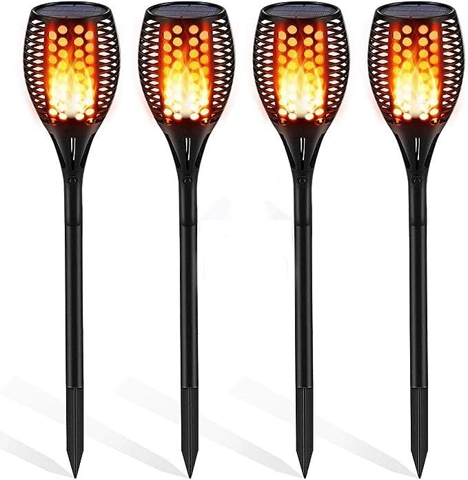 Luces Solares Antorcha de Jardín LED Parpadeo Baile Lámpara de llama Luces Jardin Solares Exterior IP65 Impermeable Decoración para Jardín Patio Puerta Boda Fiesta,4Pack: Amazon.es: Iluminación