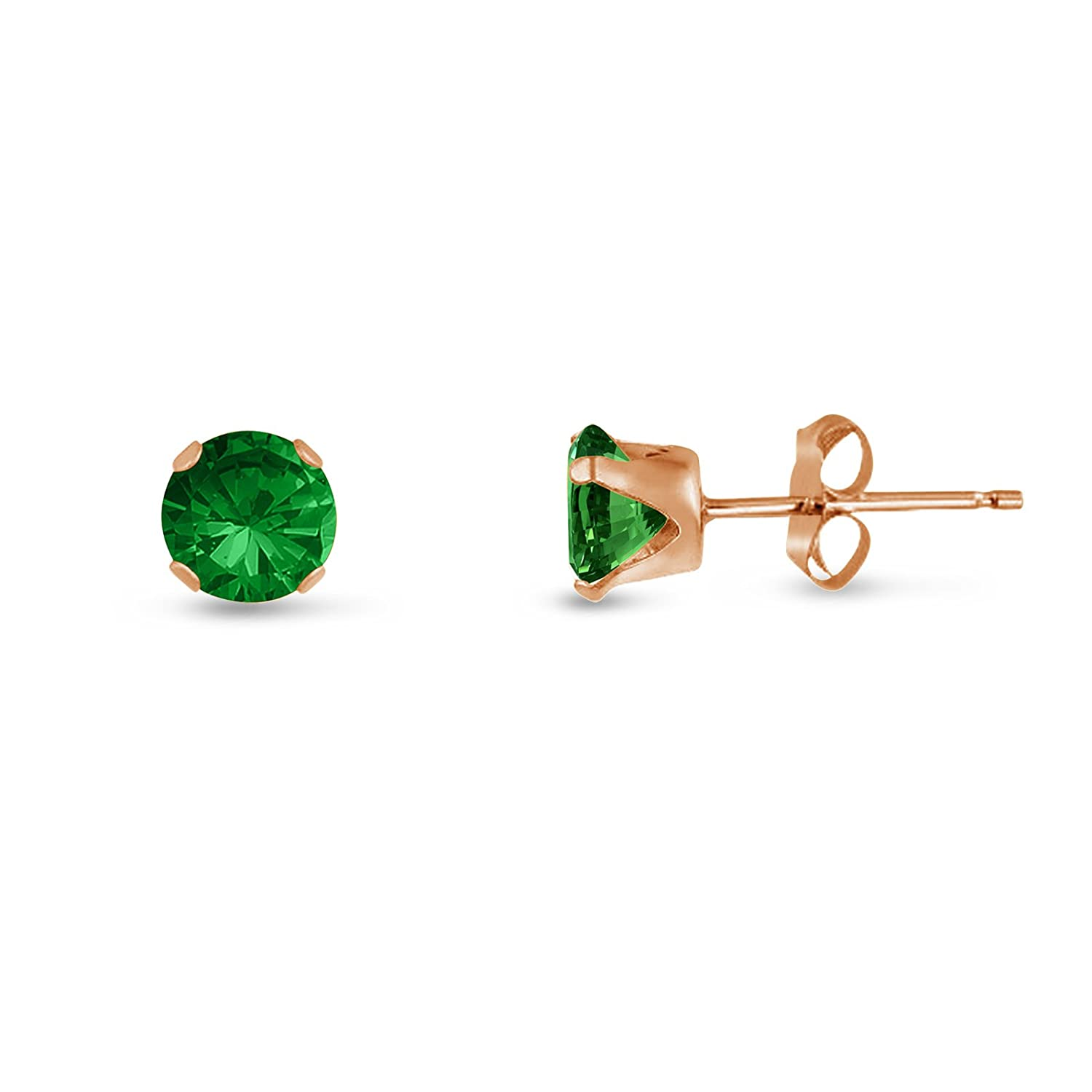 14k Yellow or Rose Goldplate Sterling Silver Round 3mm Simulated Emerald CZ Stud Earrings 0.36 cttw