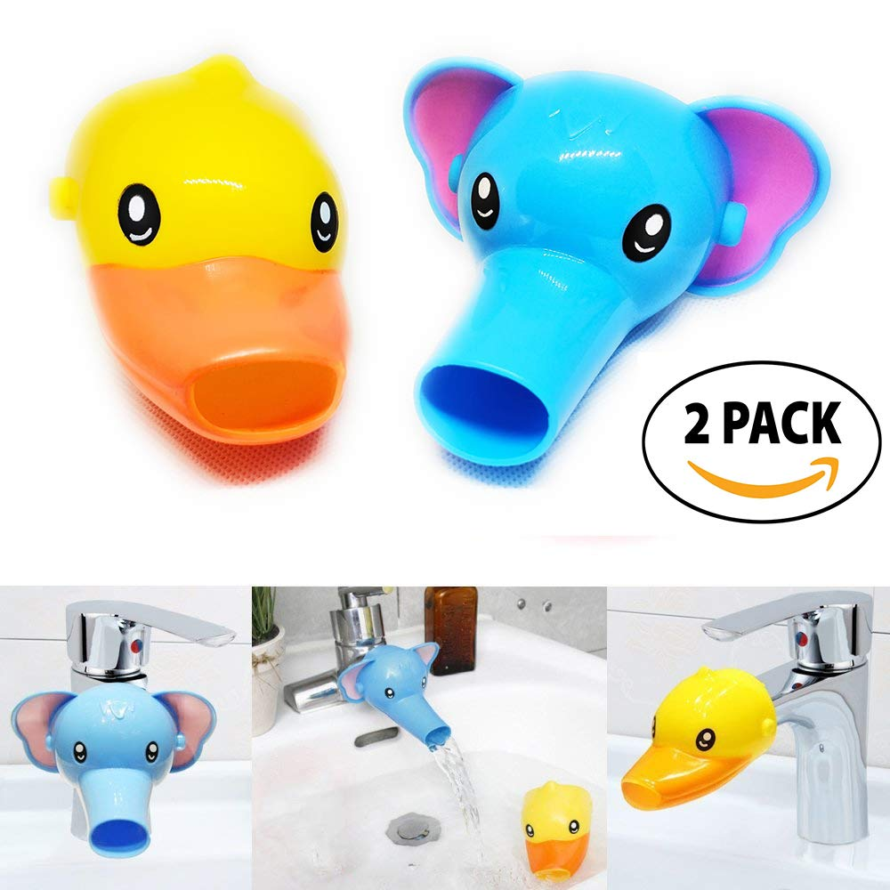 RafaLife Bath Toys - Faucet Extender For Babies,Toddlers & Children,Two Animal Spout Extenders for Sink Faucets, Promotes Hand Washing in Children ( 2 Pack Set - Elephant + Duck ) Ltd. Raf - E2