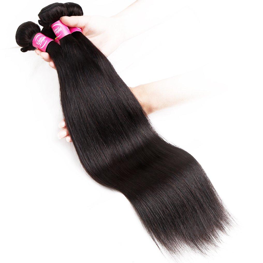 Mink 8A Brazilian Virgin Hair Straight Remy Human Hair 4 Bundles Deals (22'' 24'' 26'' 28'') 100% Unprocessed Brazilian Straight Hair Extensions Natural Color Weave Bundles by Grace Length Hair (Image #4)