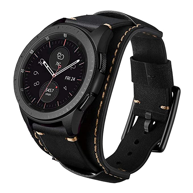 Leotop Compatible with Samsung Galaxy Watch 42mm/Active 40mm/Gear S2 Classic Bands, 20mm Replacement Genuine Leather Cuff Strap with Stainless Steel ...