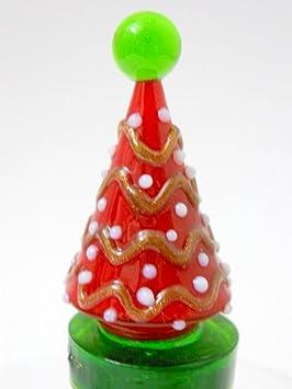Nuevo árbol de Navidad de cristal tapón para botella de vino corcho rojo adornos de color