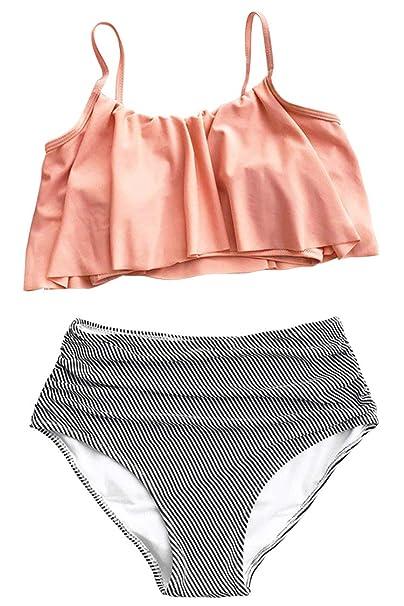 Amazon.com: Reilive Falbala traje de baño de dos piezas para ...