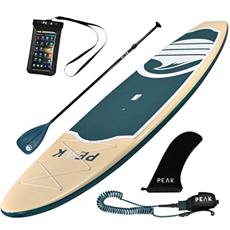 Peak 10 6 Navigator Rigid Stand Up Paddle Board Super Duty Ding Resistant Shell Wood Grain Finish Perfect SUP for Rentals, Hotels and Schools or Heavy Abuse