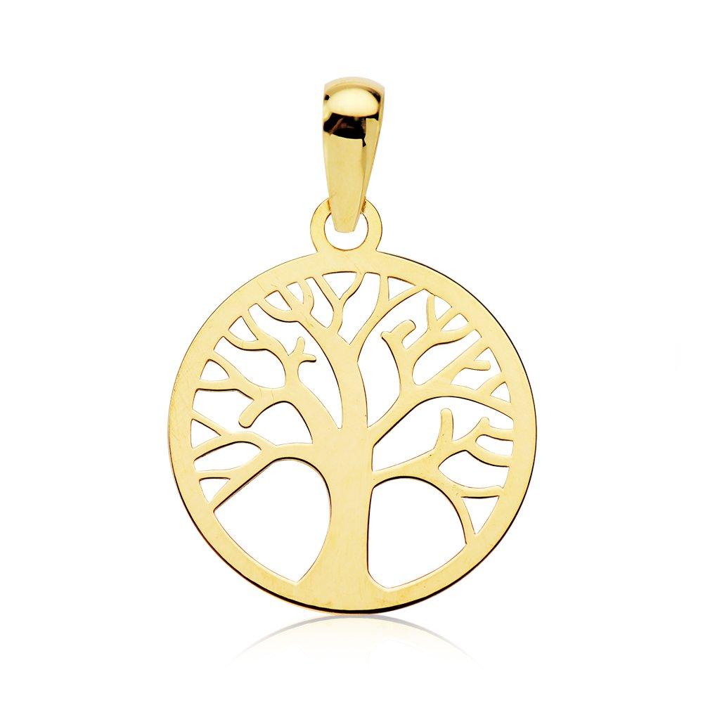 Anhä nger Damen Mä dchen Durchbrochenes Baum des Lebens gold gelb 18 K 14 mm Iyé Biyé Jewels 69