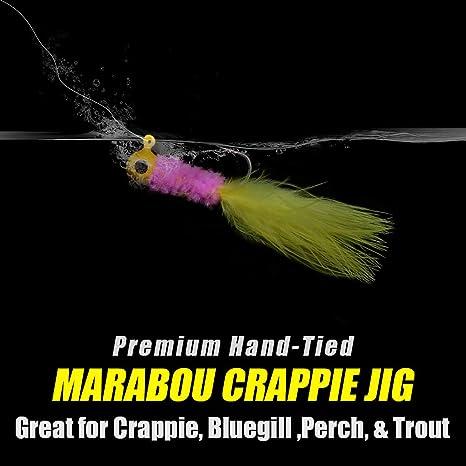 XFISHMAN Crappie Jigs Fishing Lure Marabou Hair Feather Jig Heads 1//16 1//32oz for Perch Panfish Sunfish Bluegill Trout Walleye Crappie Jigs Lure Kit
