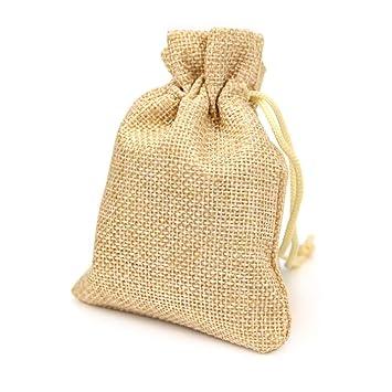 RUBY - 50 Bolsas de arpillera con cordón 11,5 x 8,5cm ...