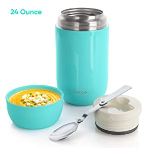 DaCool Insulated Lunch Container Thermos Food Jar 24 oz Stainless Steel Vacuum Bento Lunch Box for Adult with Spoon Leak Proof Hot Food Insulated Container for Office Picnic Travel Outdoors, Cyan Blue