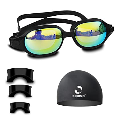 3e0408047be Htwon Swim Goggles for Men Anti Fog Wide View No Leaking UV Protection Swimming  Goggles with