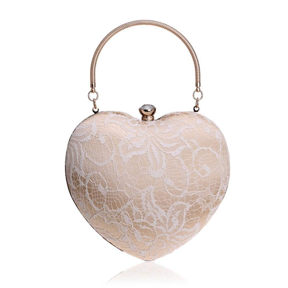 Beige YWX Handbag Lady Girl's Lace Heart Shape Evening Bag Handbag Wedding Clutch Purse Bag Fashion Women's Fashion, Versatile, Portable, Single Bag (color   Beige)