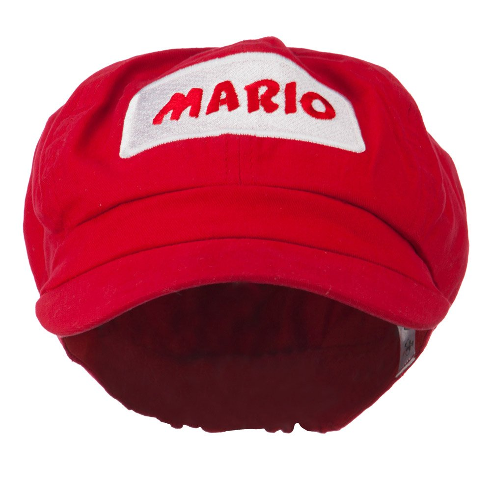 Big Size Rectangle Mario and Luigi Embroidered Cotton Newsboy Cap Red XL-2XL