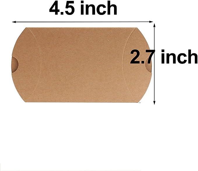 awtlife 50 pcs Vintage papel kraft natural almohada cajas de boda ...