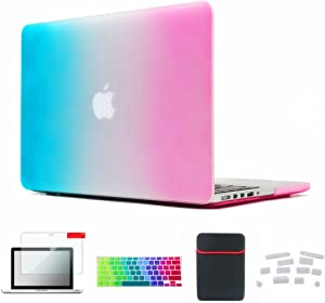 Se7enline MacBook Air 13 inch Case Laptop Accessories 5in1 Set Colorful Case, Sleeve Bag, Silicone Keyboard Cover, Screen Protector, Dust Plug for MacBook Air 13 inch Model A1369/A1466, Rainbow