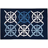 C&F Home Captains Wheel Nautical Hooked Rug, 2 x 3, Blue