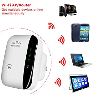 WiFi Extender-Mini WiFi Range Extender,N300 Wireless WiFi Repeater for 2.4GHz Internet WiFi Signal Booster Amplifier 802.11n/b/g Network with Ethernet Cable (Color: C1)
