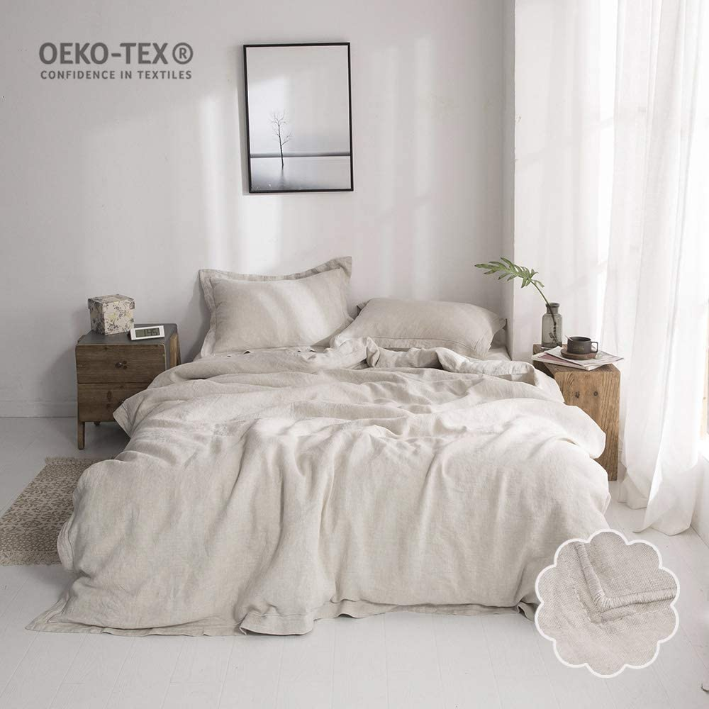 Simple&Opulence 100% Washed Linen Duvet Cover Set 3 Piece Home Bedding Sets with Button Closure(Linen,Queen)
