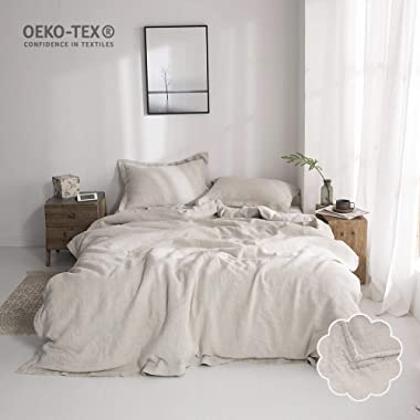 Simple&Opulence 100% Stone Washed Linen Solid Color Embroidered Duvet Cover Set 3 Piece Bedding Sets