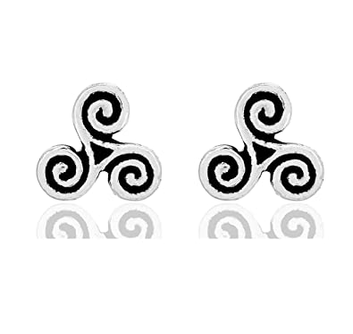 DTPSilver - 925 Sterling Silver Studs Earrings - Celtic Triskele VAq9C6WD