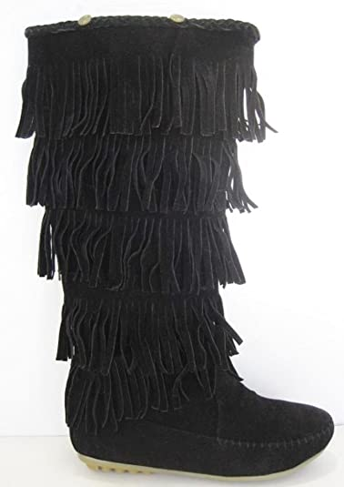 New Womens Faux Suede Pull On Mid Calf Boots Fringe Flat Mocasin Shoes Size 5-10