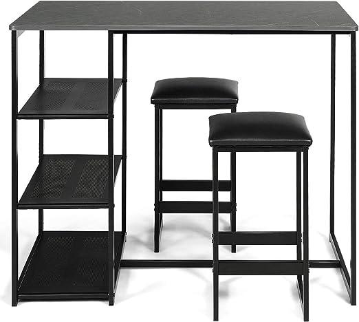 Goplus - Juego de Mesa y sillas de Bar con 3 estantes, Juego de ...
