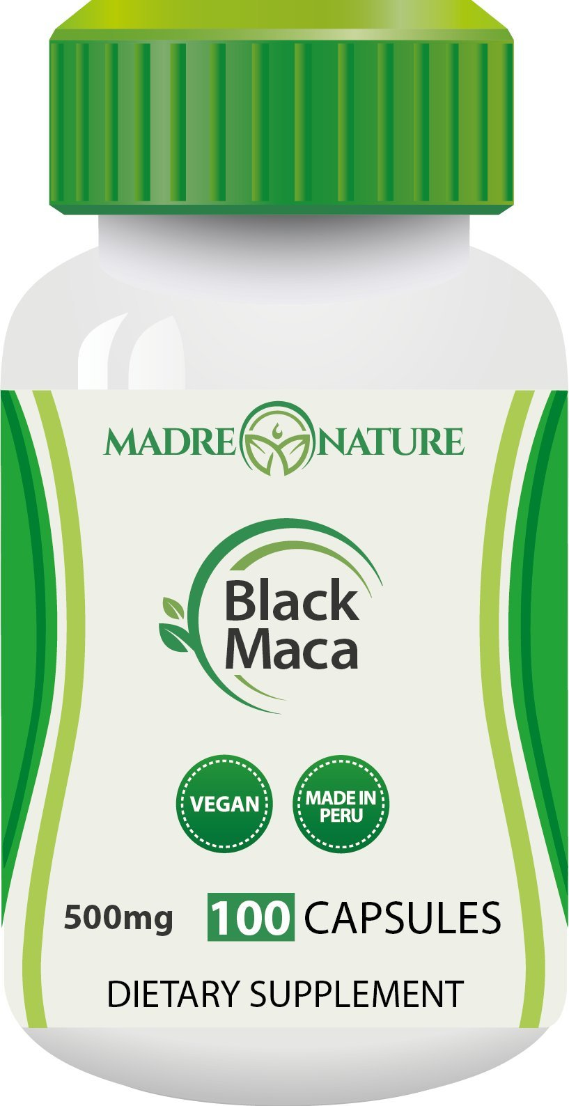 Madre Nature - Organic Gelatinized Black Maca Root Supplement from Peru - 500mg X 100 Capules (Vegan) - Peruvian Andes - Gluten-free