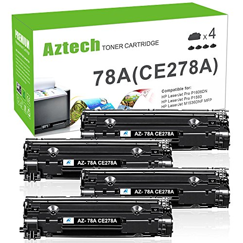 Laserjet 2100 Laser - Aztech 4 Packs 78A CE278A Compatible For HP 78A CE278A Black Toner Cartridge 2,100 Pages Yield For HP LaserJet Pro P1606DN P1606 P1566 P1560 M1536 MFP M1536DNF Printer