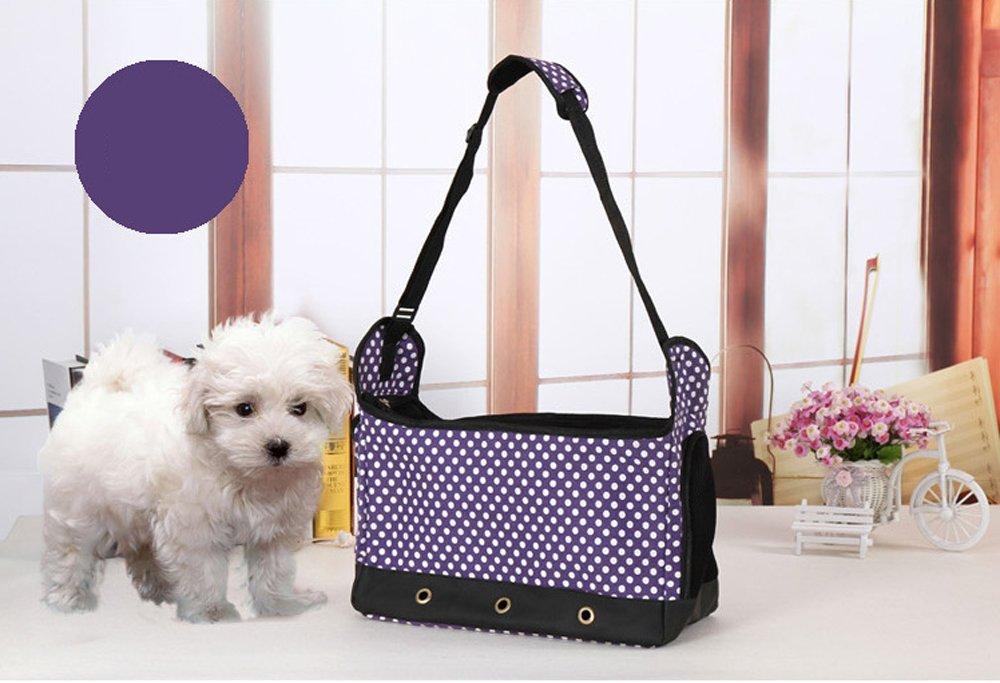 Lautechco Pet Dog Carriers Dots Stripped Nylon Canvas Dog Bags Soft Sided Pet Bags Fashion Puppy Handbag Leisure Pet Slings (Purple)