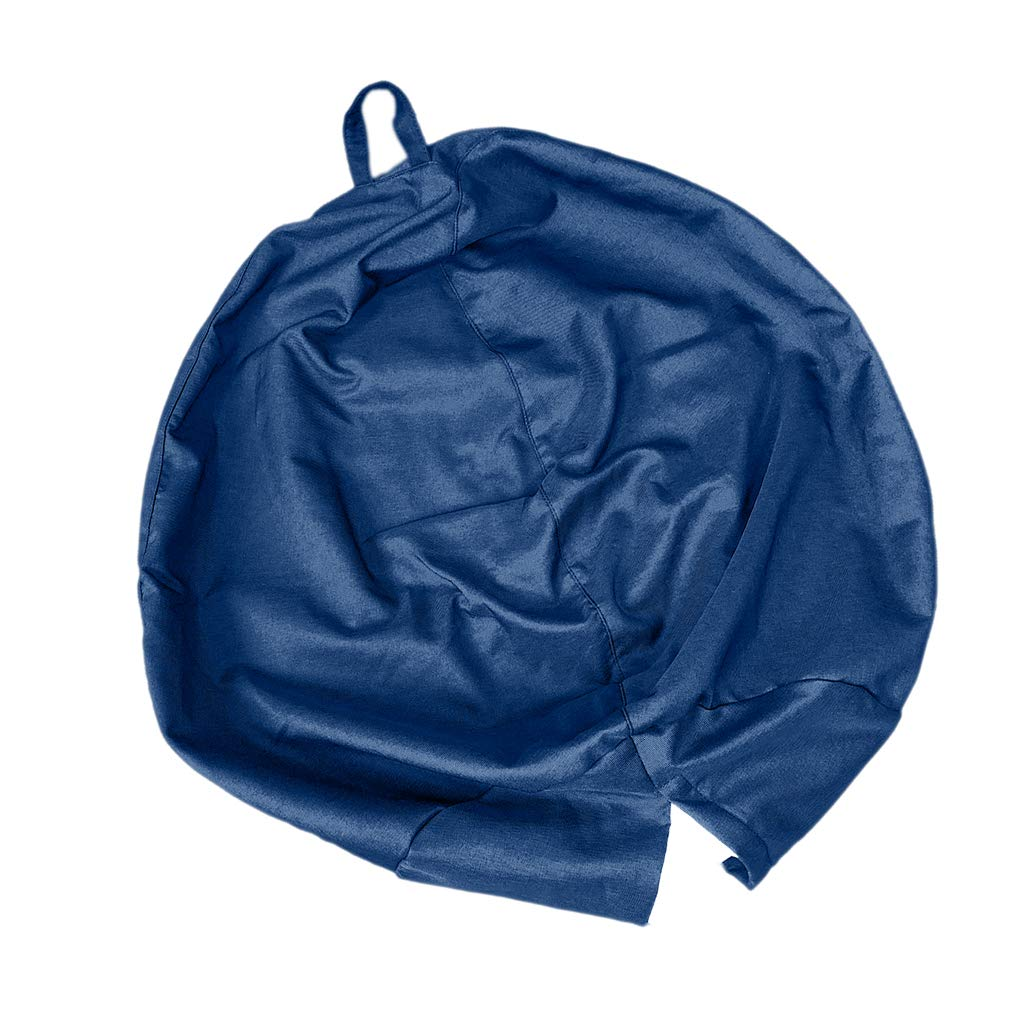 Homyl EXTRA LARGE Stuffed Animal Storage Bean Bag Chair Cover - for Toy Storage for Kids - 95x75cm (37x29inch) - Navy Blue