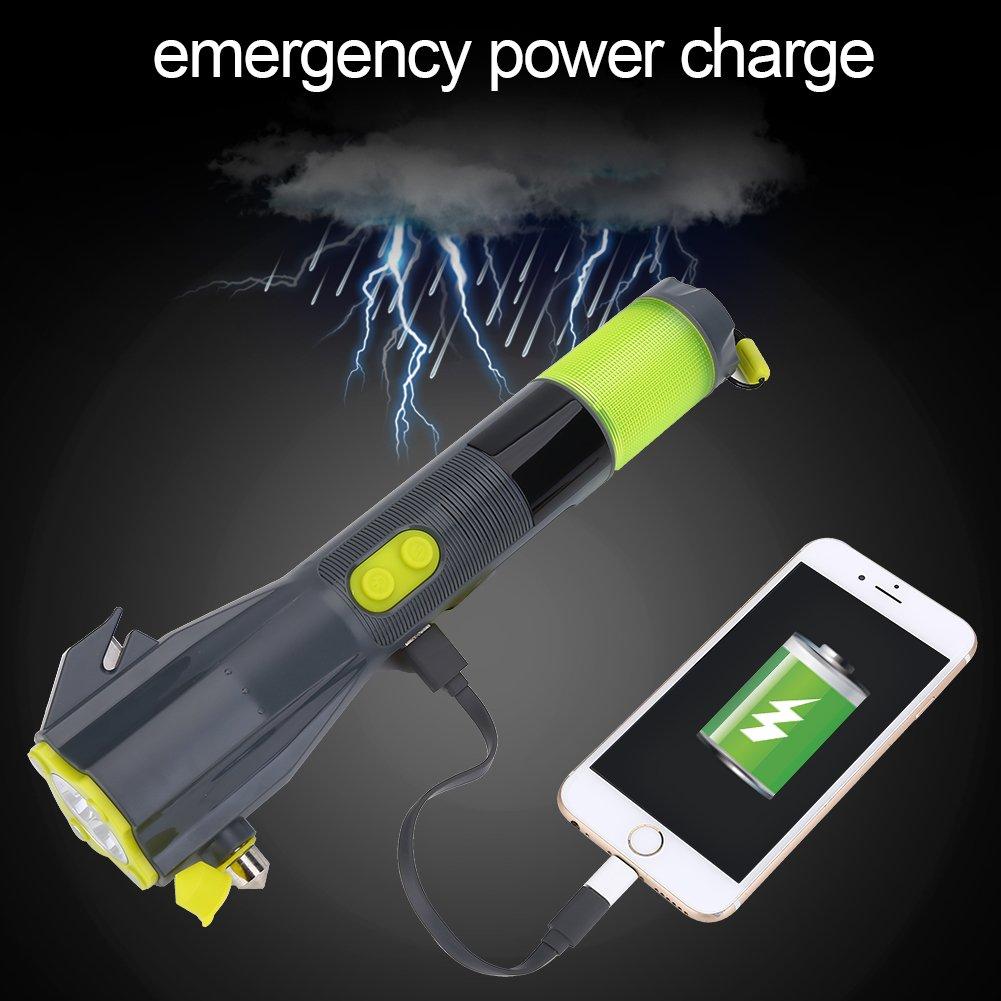 Fosa Portable LED Flashlight Hand Crank Torch Emergency USB Charger Car Safety Hammer