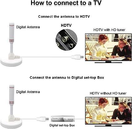 LEADSIGN - Antena de TV portátil para Interiores y Exteriores con Base magnética, Antena Digital, Alta captación de señales de TV VHF/UHF, (Color ...