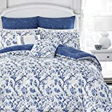 Laura Ashley Elise Bonus Comforter Set, Twin, Blue