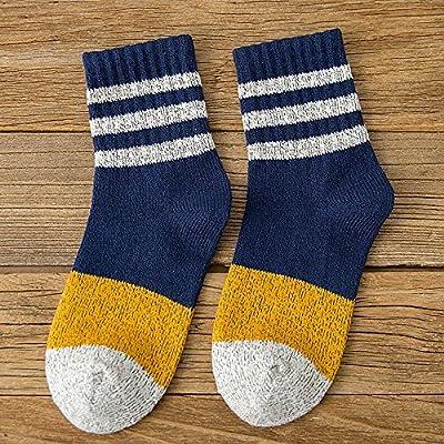 Maivasyy 3 paires de chaussettes en coton à rayures d'automne et d'hiver femelle Court Bar trois chaussettes Fashion, bleu