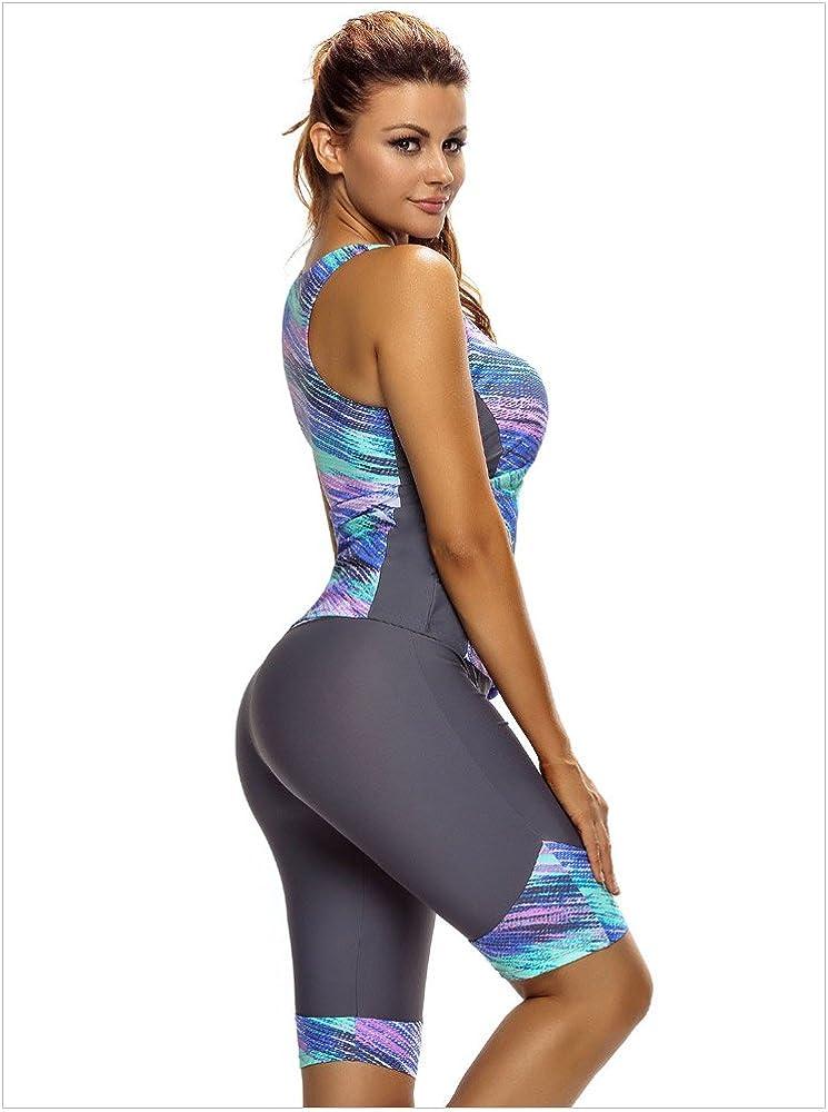 Shorts Zweiteilig Damen Slim Bademode Sport Freizeit Badeanzug Schwimmanzug Komfortabel Weich Bikini Drucken Minetom Tankini Top