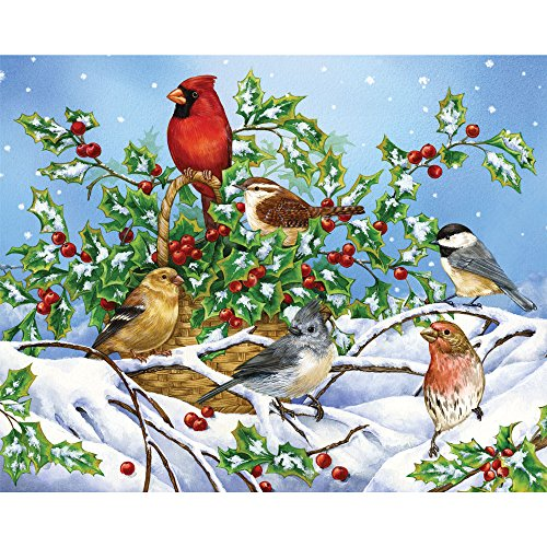 Price comparison product image Bits and Pieces - 1000 Piece Jigsaw Puzzle - Holly Birds - Birds in the Snow w / Cardinal Puzzle - by Artist Jane Maday - 1000 pc Jigsaw