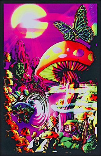Trippy Mushrooms Art Poster Print - 24x36 College Blacklight Poster Print, 23x35 (Mushroom Blacklight Poster)