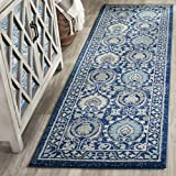 Safavieh Evoke Collection EVK251C Contemporary Blue and Ivory Runner (2'2″ x 2'2″)
