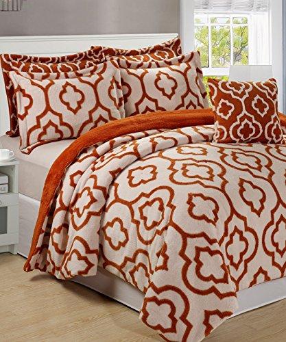 Serenta Jacquard Sherpa 6 Piece Bedspread Set, King, Burnt Orange (Orange Quilted Bedspread compare prices)