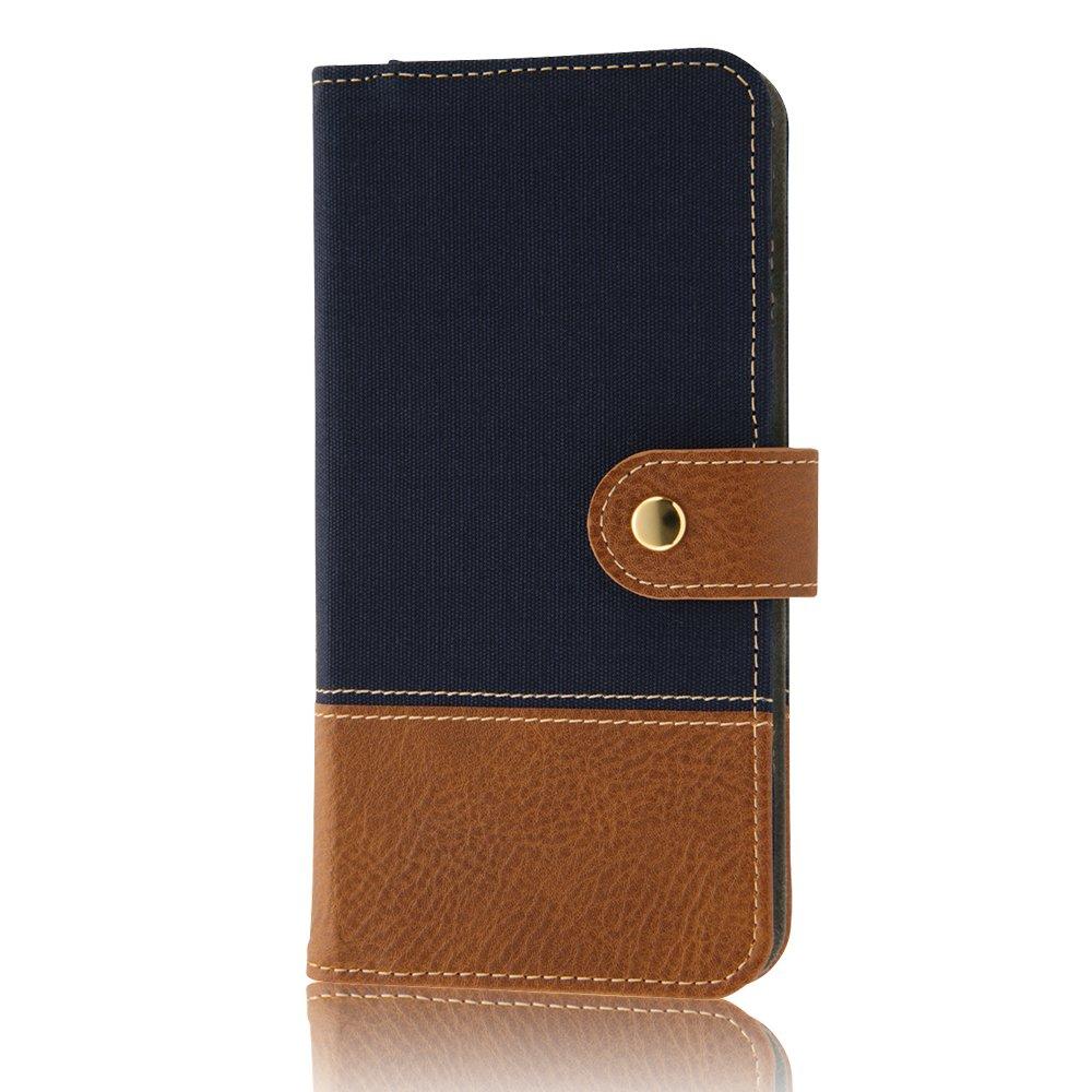 レイ・アウト iPhone 7 Plus 手帳型 ケース ファブリック スナップボタン 帆布/ネイビー