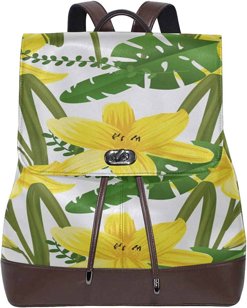 Spring Yellow Flower Narcissus With Garden Kids Backpack Leather Women Fashion Bags Drawstring Waterproof Leather Backpack Women Girl Leather Backpack For Women