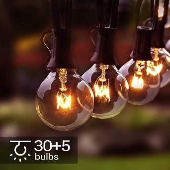 Osaloe Guirnaldas Luminosas de Exterior y Interiores, Cadena de Luces de 11 M/31FT con 30+5 Bombillas, Cadena de Luz G40 Impermeable para Jardín, Fiesta, Bodas, Terraza, Césped, Balcón, Navidad: Amazon.es: Iluminación