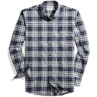 Goodthreads Men's Slim-Fit Long-Sleeve Tri-Color Plaid Brushed Oxford Shirt