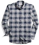 Goodthreads Men's Slim-Fit Plaid Oxford Shirt, Navy Eclipse Heather, Medium