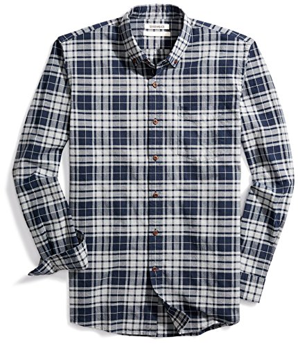 Goodthreads Men's Slim-Fit Plaid Oxford Shirt, Navy Eclipse Heather, (Button Cuff Oxford Shirt)