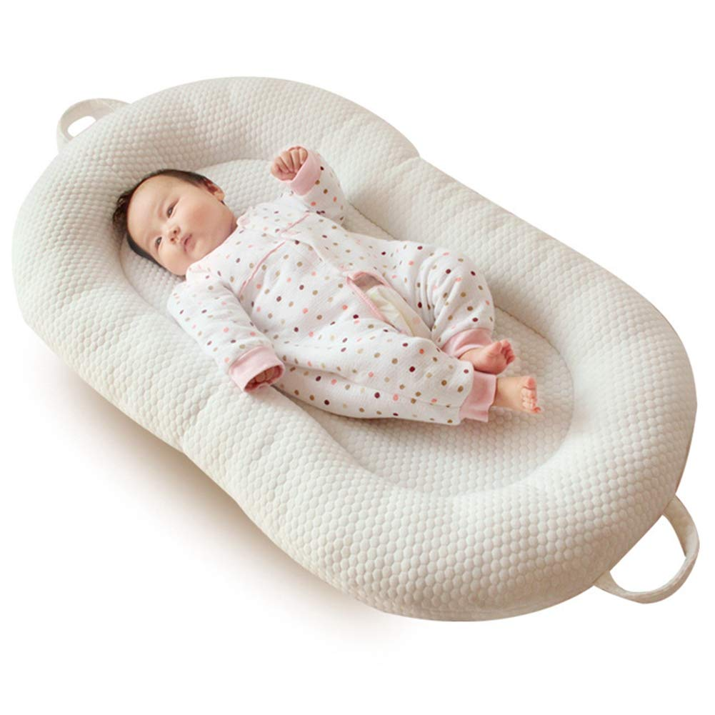 39'' × 23'' Baby Lounger Bassinet for Bed Breathable Hypoallergenic Co-Sleeping Baby Bed - 100% Cotton Portable Crib for Bedroom/Travel (White) by Jhion