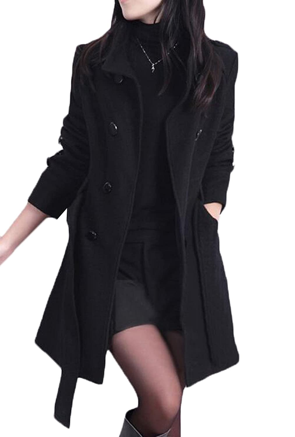 XQS Women Stylish Double Breasted Thick Long Wool Blend Coat with Belt
