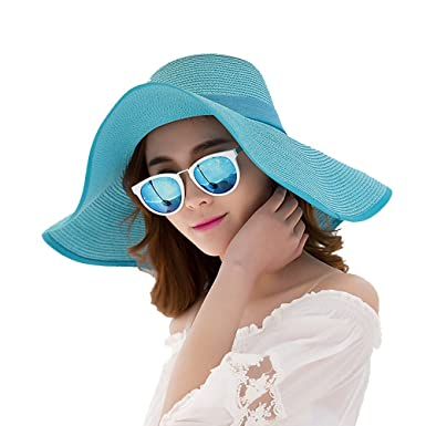 03290128378 Summer Beach Hats Women Big Bowknot Straw Hat Foldable Wide Brim Solid Caps  Lady Sun Hat